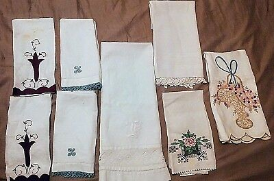 Vintage Finger Towels for Guest, made from Irish Linen with Embroidery