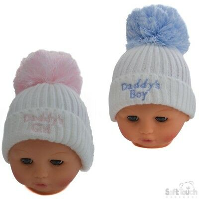 Double Pom Pom hat contrast Baby boy girl Assorted Knitted 0-12m.