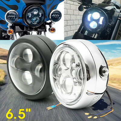 6.5'' Black / Silver Motorcycle Universal LED Headlight High Low Beam Cafe Racer