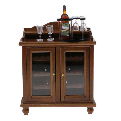 Retro 1/12 Dollhouse Miniature Furniture Wood Wine Cabinet with Bottles Cups
