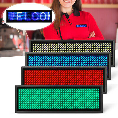 LED Mini Digital Programmable Rechargeable Scrolling Name Message Tag Badge Sign