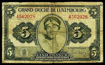 LUXEMBURG. LUXEMBOURG. 5 Francs (1944). P. 43b.