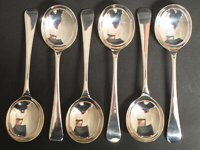 Vintage Set Of 6 Silver Plated Old English Long Handled Soup Spoons - Epns