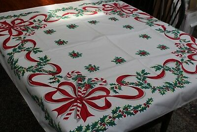 Vintage Cotton Christmas Tablecloth 46x50 Fab Color Holly Ribbon Bows +++