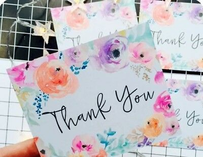 5x Thank you Card Message Card Printed with Watercolor Flower CA025