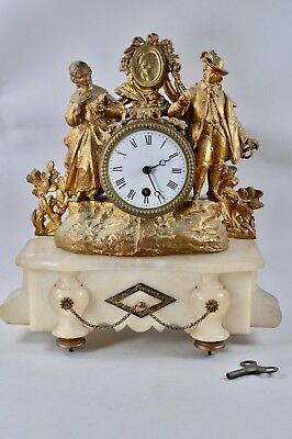 FRENCH Antique 19th Century Figural Gilt Onyx Marble Mantel Clock Timepiece RARE