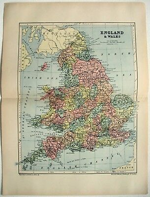 Original 1895 Map of England & Wales by W & A.K. Johnston. Antique