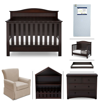 Serta Barrett 7-Piece Nursery Furniture Set, Dark Chocolate (Brown)