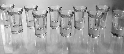 10 VTG  1940s ART DECO MCM CLASSIC~CRYSTAL~SHOT~HEAVY BOTTOM~BAR~GLASSES