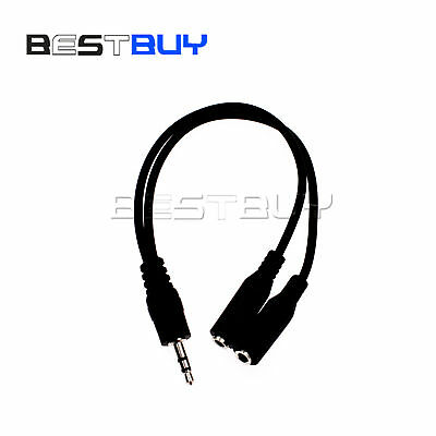 1PCS 3.5mm Stereo Audio  Microphone Splitter Male to 2 Female Cable Adapter BBC