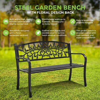 Outdoor Cast Iron/metal Garden Bench Seat Patio Furniture Scroll Design Park