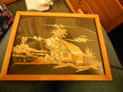 VINTAGE Asian Straw/bamboo art House and birds scene