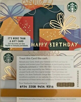 2018 Starbucks Happy Birthday Gifts Gift Card 6154 Mint