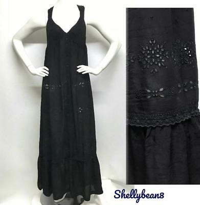 JOHNNY WAS Rayon EMBROIDERED Eyelet MAXI Dress M L $358 Black & BLUE RARE KILLER