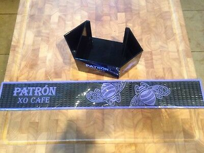 Patron Tequila Xo Cafe Black Rubber Spill Bar Mat & Napkin And Straw Holder
