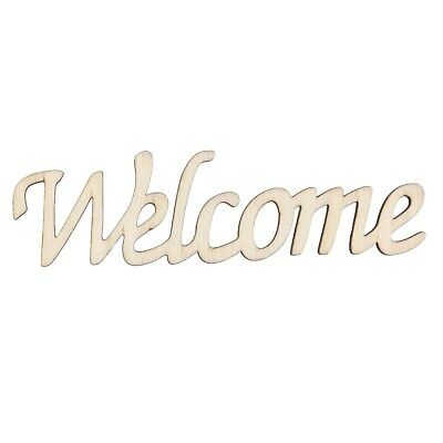 Welcome Printed Words Wooden Hanging Wall Chic Hangtag Hanging Sign (11.3x0.2cm)