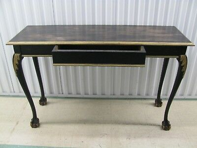 Hand Painted Console w/gold Accents w/ drawer and claw and ball feet