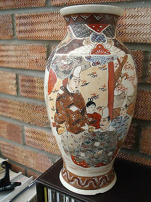 Vintage Pair Of Hand Painted Oriental Japanese Satsuma Vases With