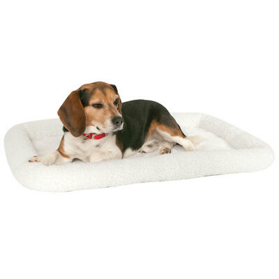 """MidWest 40224 Quiet Time Bolster Pet Bed, White Fleece, 24"""" x 18"""""""