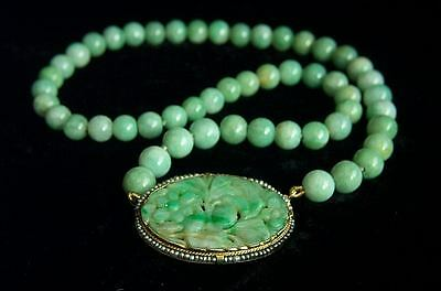 ONE OF A KIND Chinese Art Deco Large 14K Jadeite Jade Clasp Pendant Necklace