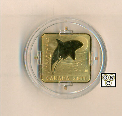 2011 'Orca Whale' Wildlife Conservation $3 Square-Shaped Gold-Plated(12792)OOAK