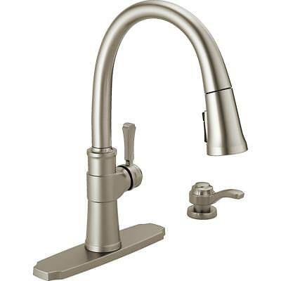 Delta Allentown Single Handle Pull Out Sprayer Kitchen Faucet W Soap
