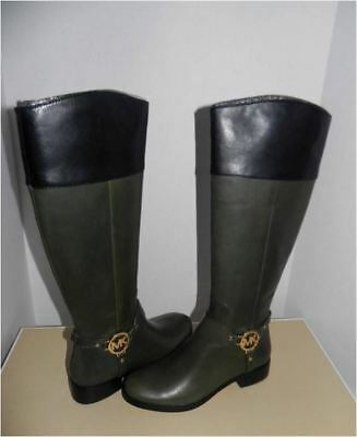 119812f80db0 Michael Kors Loden Green Leather Fulton Harness Knee-High Riding Boots 5.5  New