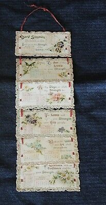 Antique Hanging Cascading Ribbon Folding 6 Leaf Calendar Card For 1898 #7