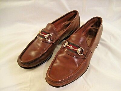 72cd9c8b51 Vintage GUCCI Brown Leather Classic Gold Horse bit Loafer Men's Shoes Size  42.5