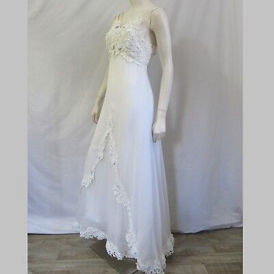 Vintage Wedding Dress 1960s Lace Overlay Empire Small Womens