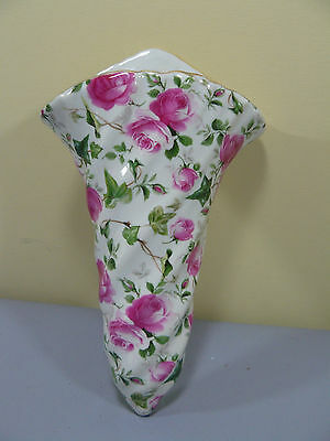 Tenderheart Treasures Pink Rose Floral Chintz Fan shape Wall Pocket NEW