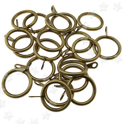 20x Heavy Duty Metal Curtain Rings Voile Antique Brass Curtains Hanging 25mm