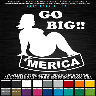 'Merica Go Big fat Girl Thick Heavy Sexy Stripper Decal Sticker