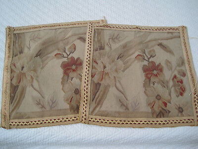 Vintage Pair Aubusson Tapestries Needlepoint Old World French Style Matched Pair