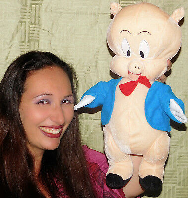 "Porky Pig Plush Doll 16"" WARNER BROS STUFFED TOY THAT'S ALL FOLKS CARTOON LOONEY"
