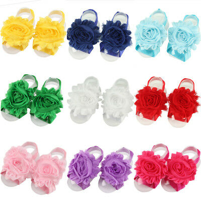 Baby Infant Girls Chiffon Flower Foot Band Cute Elastic Barefoot Accessories
