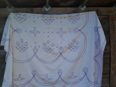VINTAGE 1930's WHITE & PURPLE LILAC CHENILLE LIGHTWEIGHT SUMMER BED THROW KING