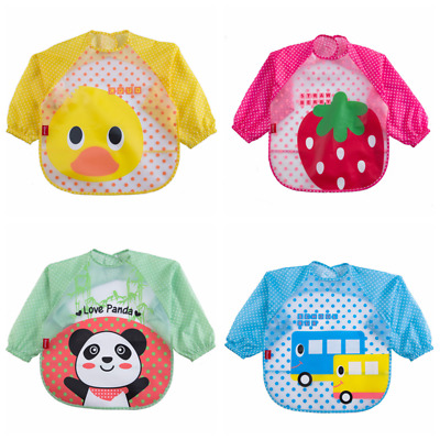 Kids Toddler Children  Apron Waterproof Long Sleeve Baby Feeding Bib Art Smock