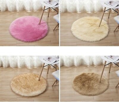 Home Bedroom Fluffy Faux Fur Rug Round Carpet Soft Gy Floor Mat Seat Pad