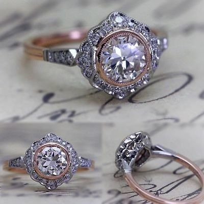 Vintage Antique Art Deco White 2.0 Ct Moissanite Fine 14K White Gold Over Ring