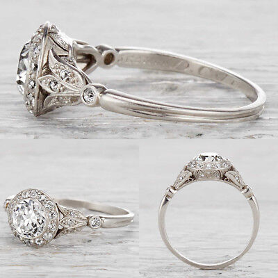 Rare Art Deco Vintage Antique White Moissanite Fine 14K White Gold Over Ring