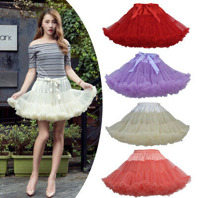 Women Fluffy Tulle Ballet Pettiskirt Princess Tutu Skirt Dancewear Petticoat