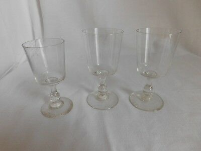 Set of three antique glasses crystal
