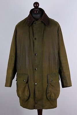 Barbour Border Vintage Waxed Jacket Size L C42 102cm