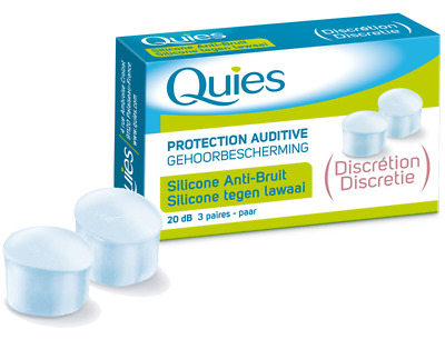 Quies Silicone Noise Protection Ear Plugs - Discreet 20 dB - 3 Pairs