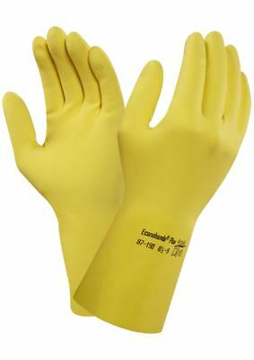 12 Pairs Ansell 87-190 EcoNoHands Plus Yellow Rubber Kitchen Gloves Size Small