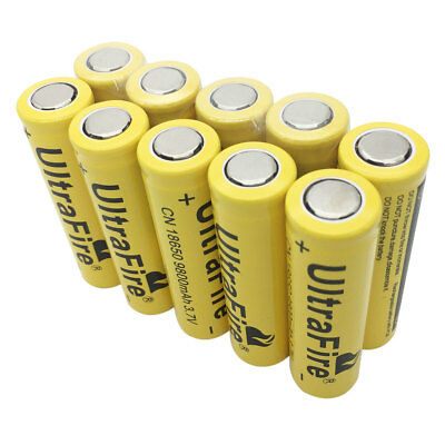 10pcs 18650 Batterie 9800mAh 3.7V Rechargeable Li-ion Battery Flat Top for Torch
