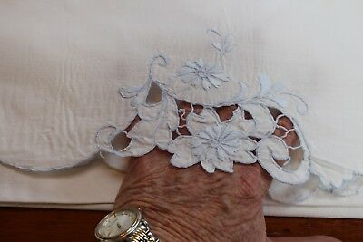 Vintage White Cotton Pillowcases w Blue Stitching Flowers & Cut Work 21x36