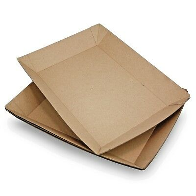 300 x Cardboard Food Tray Box For Chips, Burger, Sandwich Wedge, Fast Food Cakes