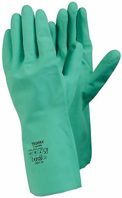 12 Pairs Tegera 18601 Strong Green Nitrile Rubber Household Gloves Mens Size 10